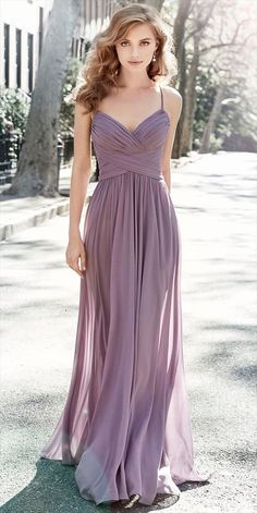 Wisteria chiffon A-line bridesmiad gown, draped bodice, dropped waist with gathered skirt.