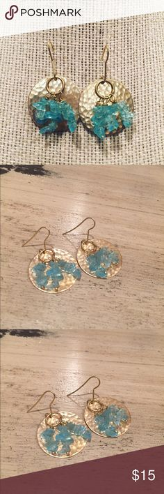 Apatite chip earrings Brass metal discs with a cluster of apatite chip beads dangling in the center. Fun and flirty.  Hang 1.5 inches from top to bottom. Handmade Jewelry Earrings