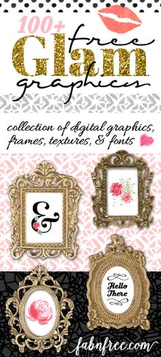 FREE!!!  81 Watercolor Florals, 10 amazing gold frames, 3 fonts, 13 backgrounds, lip clip art and 15 clip art swooshes!!!