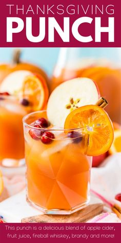This Thanksgiving Punch made with apple cider, whiskey, fruit juice, brandy, and soda packs the delicious flavors of fall and winter in one delicious holiday drink recipe! #Thanksgivingpunch #thanksgivingdrink #Thanksgivingrecipe #Drinkrecipe