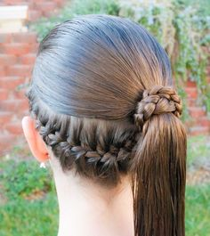 Formal Ponytail Wrap @ Princess Piggies with Instructional Video, fun styles for my daughter hair i love to do. Little Girl Hairstyles, Hairstyles For School, Pretty Hairstyles, Braided Hairstyles, Popular Hairstyles, Formal Ponytail, Ponytail Wrap, Braided Ponytail, Braid Hair