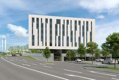 Rendering des Tomo-Tec Headquarter in Graz gegenüber Magna-Steyr Steyr, New Age, Skyscraper, Multi Story Building, Graz, Projects, Skyscrapers