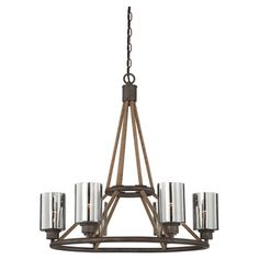 Cast a stylish glow over your dining room or entryway with this handsome chandelier, featuring a rope-wrapped frame and mercury glass shades.