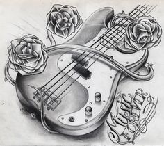 tatoo ideas for electric and acoustic guitar player who love skulls - - Yahoo Image Search Results Guitar Sketch, Guitar Drawing, Guitar Art, Music Guitar, Art Music, Guitar Tattoo Design, Music Tattoo Designs, Music Tattoos, New Tattoos