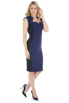 Alessandra Navy Luxe Crepe Panel Pencil Dress  #fashion #style #navy #blue #chic #elegant #theprettydress #theprettydresscompany