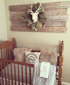 Decor Perk: 10 Rustic Baby Nursery Ideas with Wooden Nursery W. Baby Boys, Baby Boy Rooms, Baby Boy Nurseries, Rustic Baby Nurseries, Gray Nurseries, Boy Bedrooms, Baby Boy Bedding, Baby Cribs, Nursery Themes