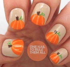 12 Thanksgiving Nail Art Ideas: Easy Pumpkin Nail Art
