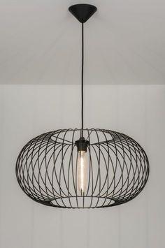 Hanglamp 10136 modern metaal zwart rond