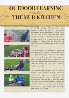, It's not frozen and snowy everywhere! Here's help in introducing the mud kitchen! , It's not frozen and snowy everywhere! Here's help in introducing the mud kitchen. Play Based Learning, Learning Through Play, Early Learning, Outdoor Classroom, Classroom Fun, Outdoor School, Learning Stories Examples, Outdoor Learning Spaces, Play Spaces