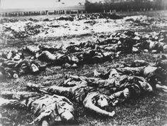 WWII. - 1941. - NDH - Gudovac - The bodies of Serbs killed by the Ustasa in the village of Gudovac, are laid out in rows in a large field