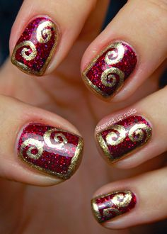 Shimmer Polish Karina with gold swirl half-frame nail art in Zoya Ziv by Dressed Up Nails