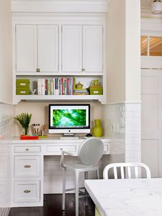 """I have ALWAYS wanted a command center place like this in my home. I can't wait to be homeowners so we can do this! I like the way it is simultaneously a part of the action by being located near the kitchen or what have you, but it is still somewhat isolated and provides some privacy. It would be a good place to keep the """"family computer,"""" for the kids to use under our supervision."""