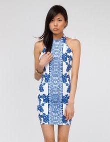 blue & white lace dress