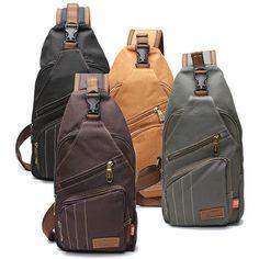 Men Canvas Travel Hiking Crossbody Bag Casual Chest Bag