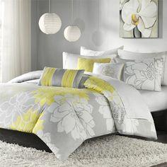 Yellow Gray White Bedding Ideas