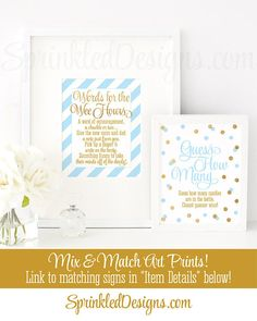 Baby Shower Games Words For The Wee Hours, Words of Wisdom, Late Night Diapers, Baby Blue Gold Glitter Printable Baby Boy Shower Game Ideas - SprinkledDesigns.com