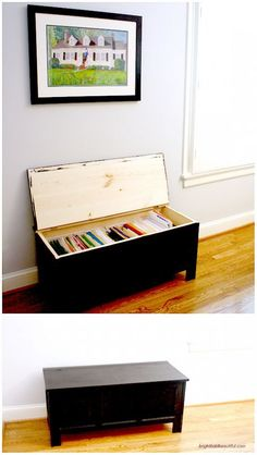 The horizontal shape of benches creates a super sneaky file cabinet if you don't have a dedicated office in your home.