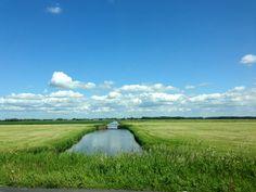 Polders in Nederland in de lang verwachte zon.