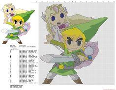 Toon Link and Princess Zelda cross stitch pattern The Legend Of Zelda
