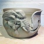 Elephant Yarn Bowl. Special commission. #yarn #yarnbowl #wool #knitting #clay #carved #ceramic #crochet #gift #earthenware #elephant #craft #handmade