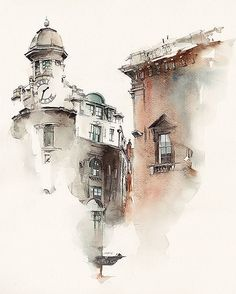 Architectural sketches 371687775477772821 - architecture 2 by Sunga Park, via Behance – – Travel Journal – Watercolour – Art – Sketch – Architecture – Mysterious Painting, at the corner of a Street. Watercolor City, Watercolor Sketch, Watercolor Landscape, Watercolour Painting, Watercolours, Watercolor Artists, Watercolor Architecture, Architecture Drawings, Architecture Panel
