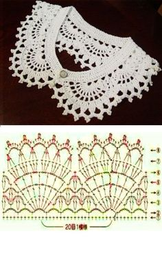 Best 12 Crochet Lace Collar FREE Pattern from dancingbarefoot (Mingky Tinky Tiger + the Biddle Diddle Dee – SkillOfKing.Free crochet chandelier necklace pattern with video tutorial from bhooked by britanny featured in recent sova enterprises com ne Crochet Collar Pattern, Col Crochet, Crochet Lace Collar, Crochet Diagram, Crochet Stitches Patterns, Crochet Basics, Crochet Shawl, Diy Crafts Crochet, Crochet Projects