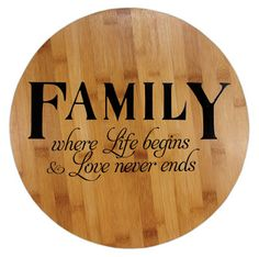 Family Lazy Susan Project from Crafts Direct Dyi Crafts, Crafts To Sell, Wood Crafts, Diy Wood Projects, Vinyl Projects, Vinyl Lettering Projects, Diy Lazy Susan, Bourbon Barrel, Wood Rounds