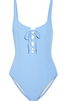 Sky-blue stretch-polyamide Pulls on 88.9% polyamide, 11.1% Lycra; lining: 85% polyamide, 15% elastane Hand wash Lotion, sunscreen, oil and chlorine can cause discoloration of this item; this is not a manufacturing defect. Please follow care instructions to keep your swimwear in the best condition