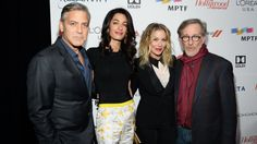 """Amal Clooney in Giambattista Valli Resort 2015 at the Oscars """"Night before the Party"""" 21.02.2015.    From left: George Clooney and wife Amal mingled with Christina Applegate and Steven Spielberg at the soiree. Clooney and Spielberg were among those on this year's host committee for the charity bash, benefiting the Motion Picture & Television Fund; Clooney also is on the MPTF's board of directors."""