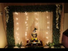 Diy Diwali Decorations, Wedding Stage Decorations, Festival Decorations, Flower Decorations, Flower Decoration For Ganpati, Ganpati Decoration Design, Ganesh Chaturthi Decoration, Home Flower Arrangements, Ganapati Decoration