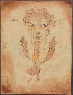 """Paul Klee """"Angelus Novus"""" (1920), legendaria acuarela que compra Walter Benjamin en 1921 y que describe en su Tesis sobre la Filosofía de la historia para aludir el estado del mundo que se desmantela a sus pies, mientras el punzante vendaval del progreso concatena una debacle incalculable que lo empuja torpemente hacia el futuro"""