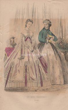 Civil War Fashion-Victorian Ladies-Dress-Rhett-Scarlett O'Hara-Gone With The Wind-1865 Antique Vintage Art PRINT-Engraving-Gothic Picture