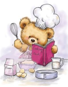 Teddy Cooking by Wild Rose Studio Tatty Teddy, Clip Art Pictures, Cute Pictures, Teddy Bear Pictures, Cute Clipart, Cute Teddy Bears, Bear Art, Cute Images, Cute Illustration