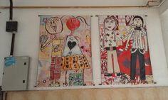 gigantigrafias montadas en telas plasticas a partir de producciones colectivas donde todos los niños aportaban a las figuras y el fondo