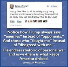 Trump is a Combative, Narcissists who will surely put this country in one conflict after another. He's Unprepared, Unprofessional and Unpredictable....a Recipe for Disaster.
