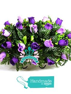 XL Beautiful Classic Lavender And White Roses Cemetery Tombstone Saddle Arrangement https://www.amazon.com/dp/B01N1UT6MS/ref=hnd_sw_r_pi_dp_hp0wyb8V76TTE #handmadeatamazon
