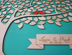 Custom Wedding Guest Book Alternative Wedding Guestbook Tree Unique Wedding Guestbooks Sign w Custom Engraved Text and 135 Leaves Keepsake by signINstyle on Etsy https://www.etsy.com/listing/224015872/custom-wedding-guest-book-alternative