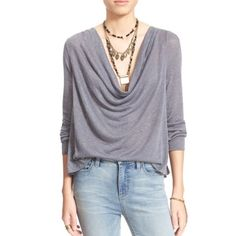 Free People Palmer cowl neck top New with tags, Free People Palmer cowl neck drapey top. This feels kind of like a really lightweight sweater material. Gray with silver metallic threading. Fits true to size. Free People Tops Blouses