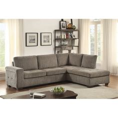 Homelegance Calby Lane 2 Piece Sleeper Sectional in Gray  sc 1 st  Pinterest : 2 piece sleeper sectional - Sectionals, Sofas & Couches