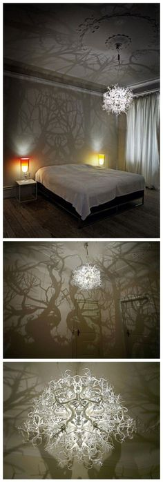 How to make forest inspired DIY tree branch shadow chandelier . Incredible chandelier casting a forest of shadows. With my love of shadow art I don't just want I NEED this in my life! Diy Tree, Diy Luz, Diy Para A Casa, Diy Chandelier, How To Make Chandelier, Chandelier For Bedroom, Empire Chandelier, Iron Chandeliers, Ideias Diy