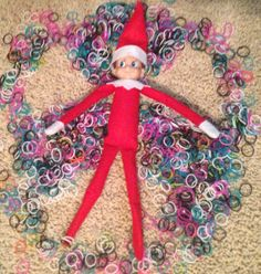 Christmas Elf on the Shelf idea. Rainbow Loom band angel (like a snow angel).