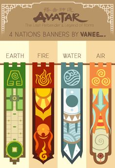 Billedresultat for avatar element banner Avatar Legend Of Aang, Team Avatar, Avatar Aang, Legend Of Korra, Earth Air Fire Water, Avatar The Last Airbender Art, Water Tribe, Party Themes, Banner