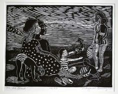 BURROUGHS, MARGARET. On the Beach [Signed original linocut]. Original linocut print, titled, numbered and signed in pencil along lower margin. Important Louisiana-born Chicago printmaker (b. 1917), painter, sculptor, poet, writer and book illustrator.  11 x 14 1/4 inches; paper size: 14 1/2 x 18 inches. No. 46 of a numbered edition of 50. N.d. (c.1960's).