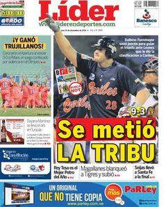 Se metió LA TRIBU | Balbino Fuenmayor sonó jonrón para guiar el triunfo de #Anzoátegui sobre #Caracas, lo que significó la clasificación de #Caribes al #RoundRobin de la actual campaña de la LVBP | Es nuestra portada del 15 de diciembre