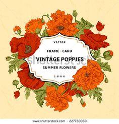 Vintage floral frame with orange, red poppies on a beige background. Vector illustration.