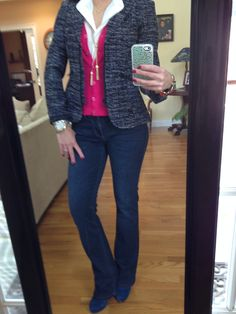 Outfit Of The Day... Mingle Jacket, Placket Blouse, CAbi Spring '12 V-Neck Cardi and Fall '13 Baby Boot Jean. Great for a casual Friday at the office or lunch with friends.