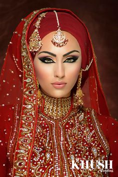 Muslim Wedding Dresses Muslim Bride,Beautiful hijab in red,wedding dress… Indian Bridal Makeup, Bridal Makeup Looks, Asian Bridal, Bride Makeup, Wedding Makeup, Indian Makeup Looks, Bridal Makeup Tips, Makeup Hijab, Wedding Hijab Styles