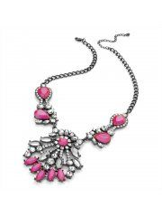 Hematite Grey Colour Neon Pink Acrylic Bead Chain Necklace N28315