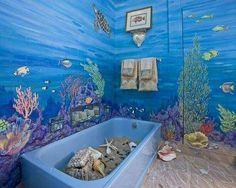30 Modern Bathroom Decor Ideas, Blue Bathroom Colors and Nautical Decor Themes Ocean Bathroom Decor, Bathroom Mural, Nautical Bathrooms, Beach Bathrooms, Bathroom Kids, Bathroom Storage, Master Bathroom, Toilet Storage, Bathroom Organization