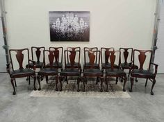 Set / 12 Ball & Claw Foot Mahogany Queen Anne Style Dining Chairs from Antiques By Design Antique Dining Chairs, Queen Anne, Antiques, Table, Furniture, Design, Home Decor, Antiquities, Antique